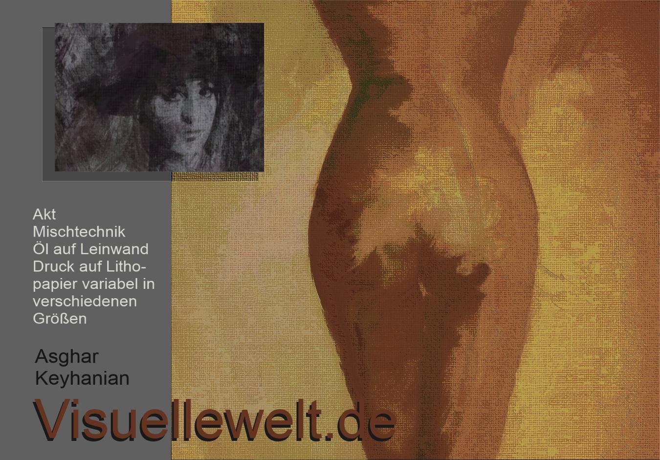 Weiblicher Akt – Mischtechnik auf Leinwand Druck auf Lithopapier, 50 x 50 cm Copyright A. Keyhanian