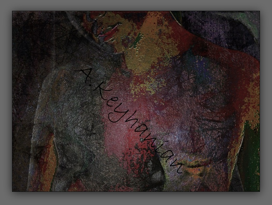 Weiblicher Akt – Mischtechnik Mixed Media Art; Druck auf Alu-Dibond Platte, 80x 55 cm by Asghar Keyhania