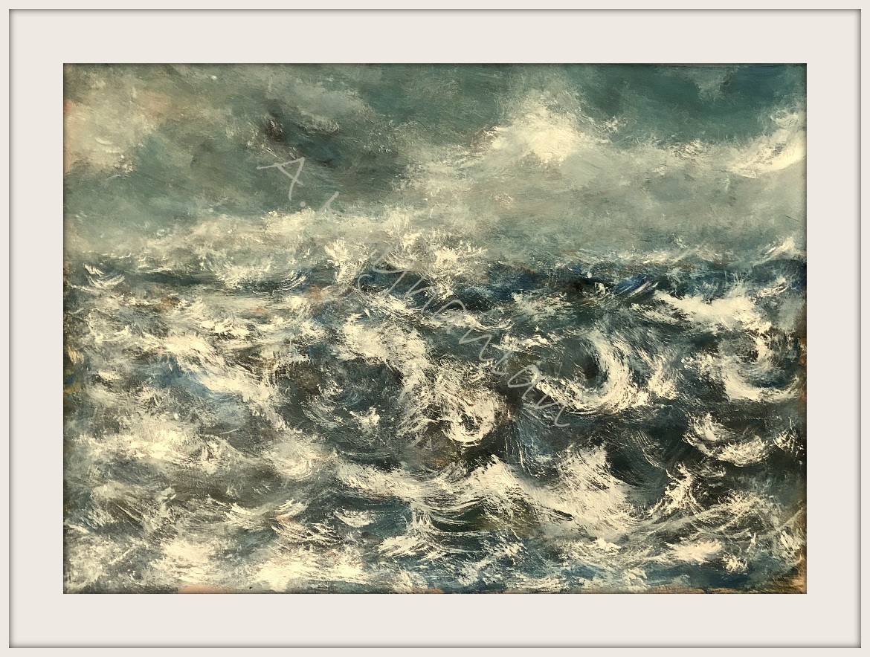 Das Meer Öl Auf Pape 80 x 50 cm Druck auf Lithopapier, 80 x 50 cm