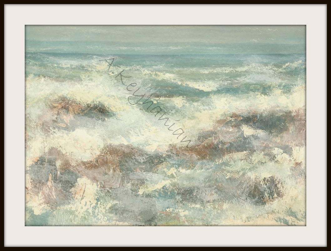 Öl auf Pappe Das Meer Druck auf Lithopapier, 70x 50 cm by Asghar Keyhania