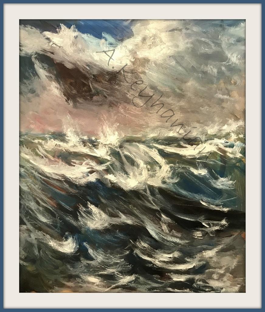 Das Meer Brandung Öl Auf Leinwand 100 x 85 cm Brandung Mischtechnik