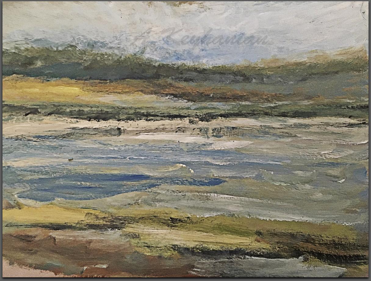 Das Meer Öl Auf Pappe Mischtechnik Druck auf Lithopapier, 30 x 40 cm by Asghar Keyhanian