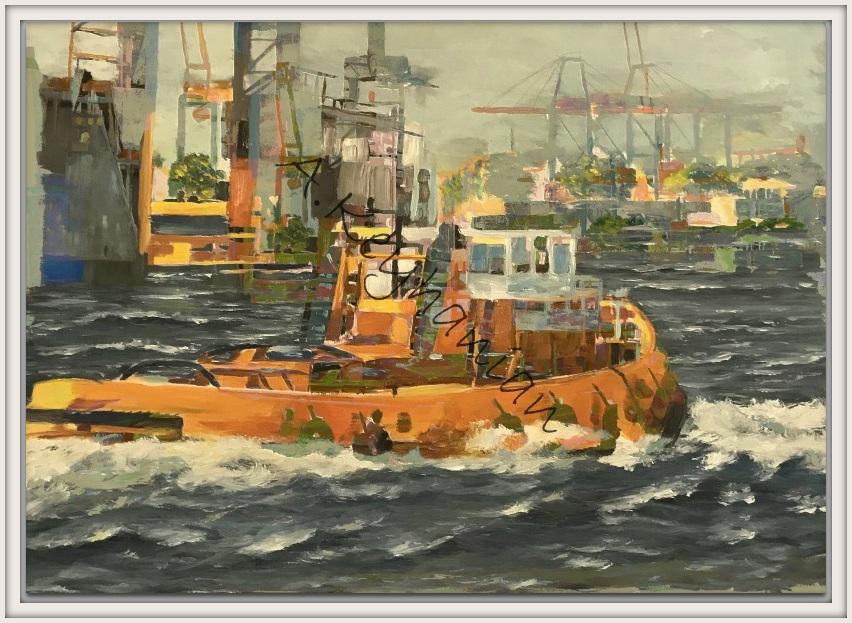 Industry Art Hamburg Ansichten Hamburg Hafen Mischtechnik 150 x 100 cm Öl auf Leinwand