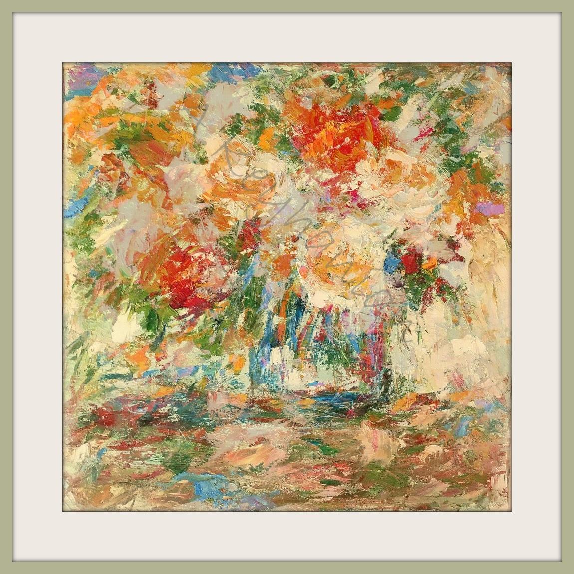Blumen Stilleben Öl auf Pape Druck auf Lithopapier, 80 x 80 cm