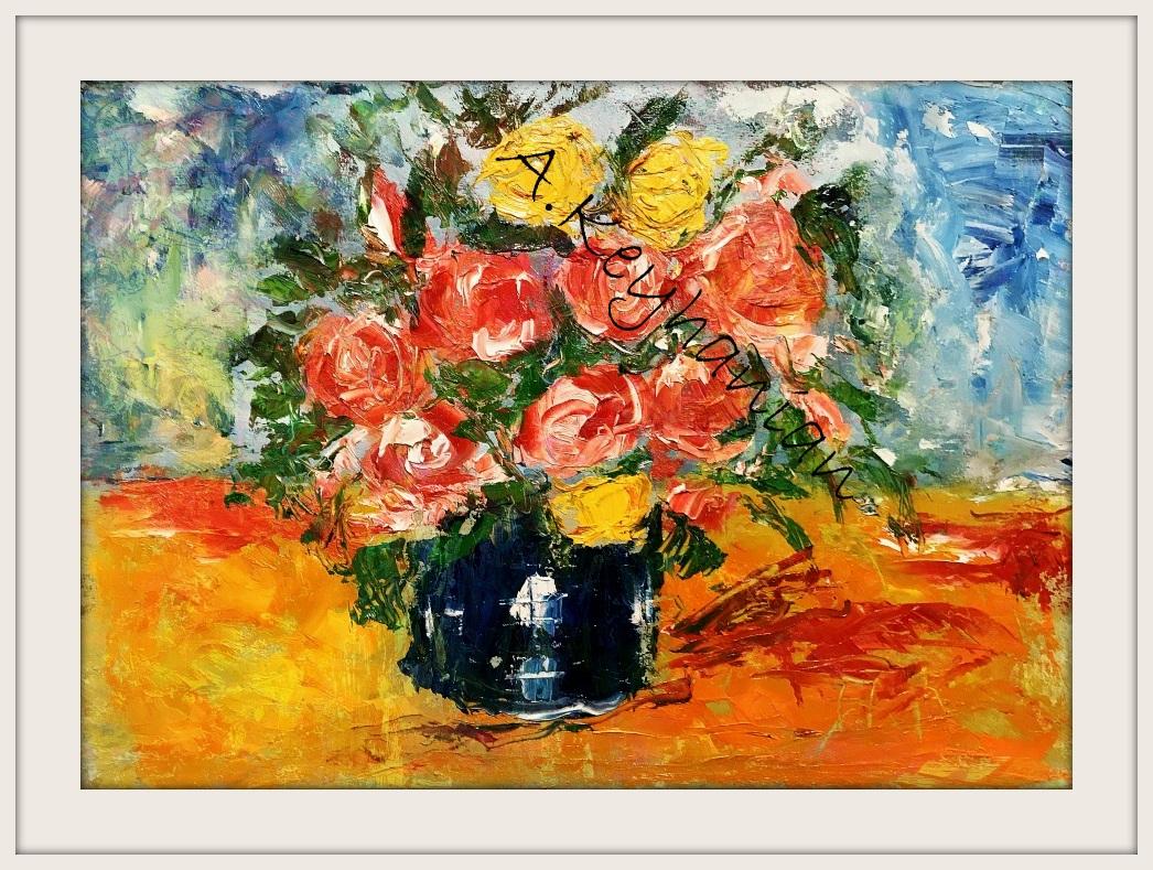 Blumen Stilleben Öl auf Pappe Druck auf Lithopapier, 70 x 50 cm