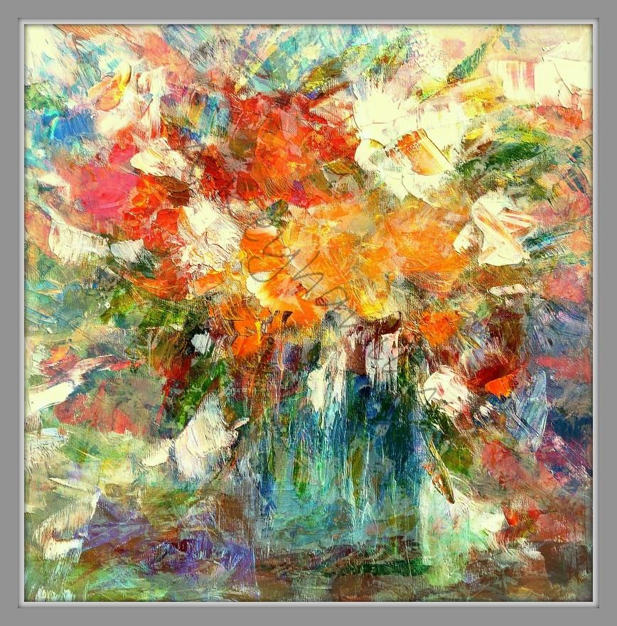 Blumen Stilleben Öl auf Leinwand Druck auf Lithopapier,50 x 50 cm